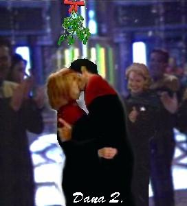 Janeway & Chakotay under the mistletoe